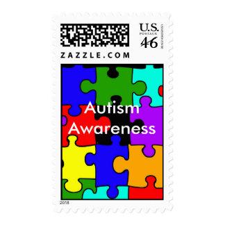 autism puzzle, Autism Awareness postage stamp
