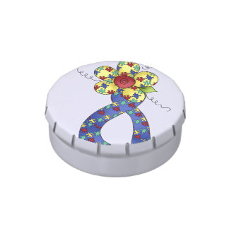 Autism Puzzle Awareness Ribbon & Flower Jelly Belly Tins