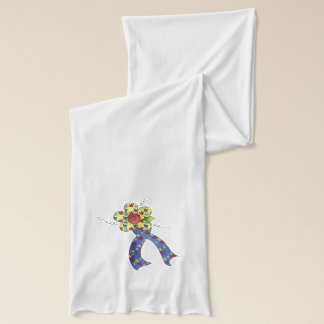 Autism Puzzle Awareness Ribbon & Flower Scarf