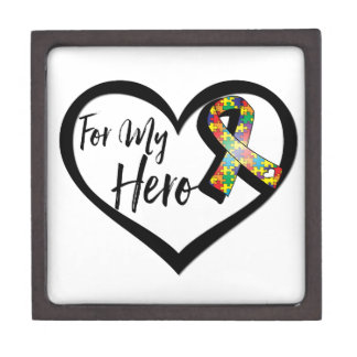 Autism Puzzle Awareness Ribbon For My Hero Gift Box