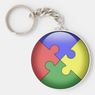 Autism Puzzle Ball Basic Round Button Keychain