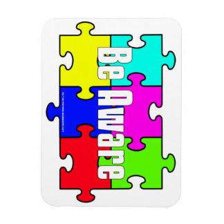 "Autism Puzzle ""Be Aware"" Flexible Fridge Magnet"