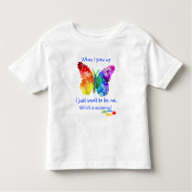 Autism Puzzle Butterfly When I Grow Up Design Toddler T-shirt