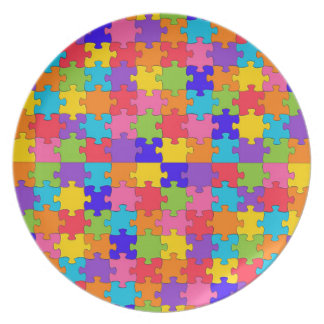 autism puzzle dinner plate