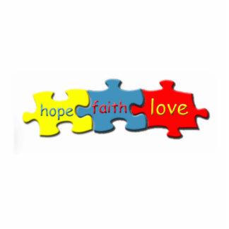 Autism Puzzle Faith Hope Love Pin Photo Sculpture Button