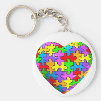 Autism Puzzle Heart Basic Round Button Keychain