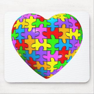 Autism Puzzle Heart Mouse Pad