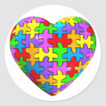 Autism Puzzle Heart Round Stickers