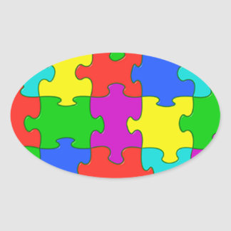 Autism puzzle love oval sticker