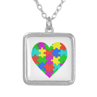 Autism puzzle love silver plated necklace