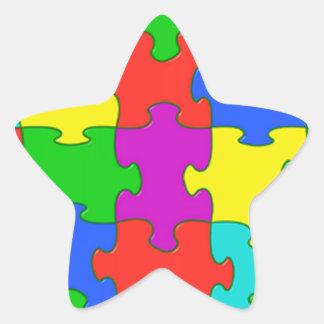 Autism puzzle love star sticker