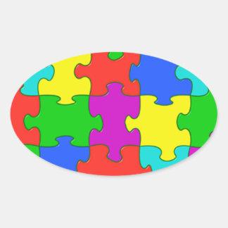 Autism puzzle love oval sticker