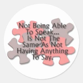 """""""Autism Puzzle: Not Speaking"""" Classic Round Sticker"""