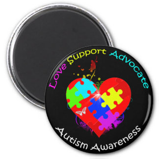 Autism Puzzle on Heart 2 Inch Round Magnet