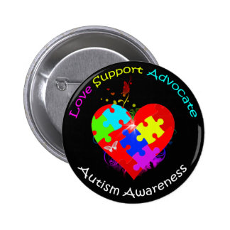 Autism Puzzle on Heart Pinback Button