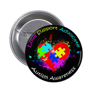 Autism Puzzle on Heart Pinback Button