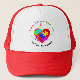 Autism Puzzle on Heart Trucker Hat