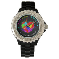 Autism Puzzle on Heart Wristwatch