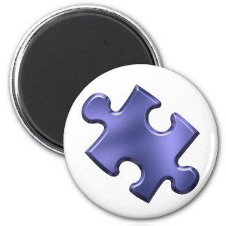 Autism Puzzle Piece Blue 2 Inch Round Magnet