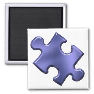 Autism Puzzle Piece Blue 2 Inch Square Magnet