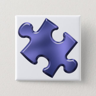 Autism Puzzle Piece Blue Button