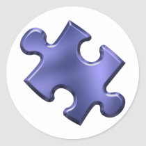 Autism Puzzle Piece Blue Classic Round Sticker