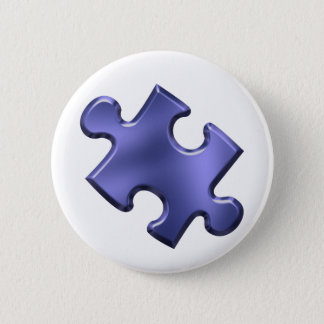 Autism Puzzle Piece Blue Pinback Button