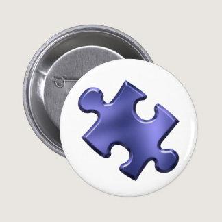 Autism Puzzle Piece Blue Pinback Button