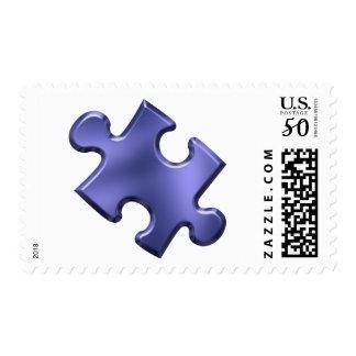 Autism Puzzle Piece Blue Postage