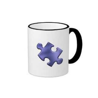 Autism Puzzle Piece Blue Ringer Mug