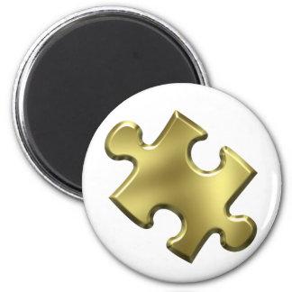 Autism Puzzle Piece Gold 2 Inch Round Magnet