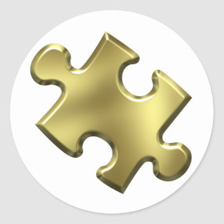 Autism Puzzle Piece Gold Classic Round Sticker