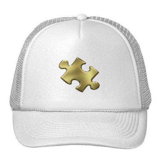 Autism Puzzle Piece Gold Trucker Hat