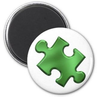 Autism Puzzle Piece Green 2 Inch Round Magnet