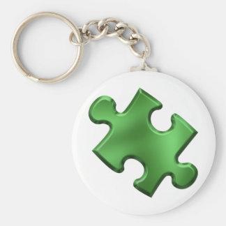 Autism Puzzle Piece Green Basic Round Button Keychain