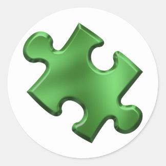 Autism Puzzle Piece Green Classic Round Sticker