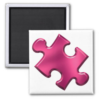 Autism Puzzle Piece Pink 2 Inch Square Magnet