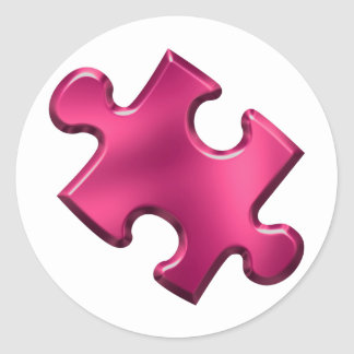 Autism Puzzle Piece Pink Round Stickers