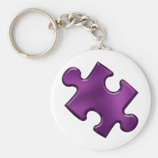Autism Puzzle Piece Purple Basic Round Button Keychain