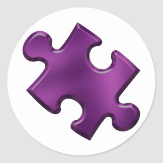 Autism Puzzle Piece Purple Classic Round Sticker