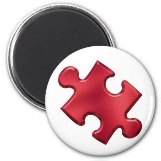 Autism Puzzle Piece Red 2 Inch Round Magnet
