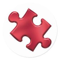 Autism Puzzle Piece Red Classic Round Sticker