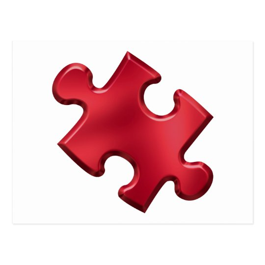 Autism Puzzle Piece Red Postcard