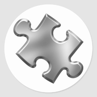 Autism Puzzle Piece Silver Classic Round Sticker