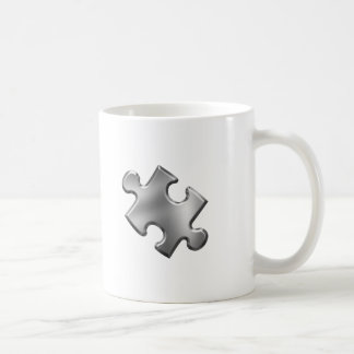 Autism Puzzle Piece Silver Classic White Coffee Mug