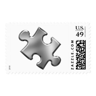 Autism Puzzle Piece Silver Postage