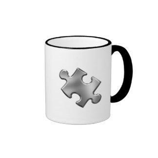 Autism Puzzle Piece Silver Ringer Coffee Mug