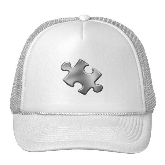 Autism Puzzle Piece Silver Trucker Hat