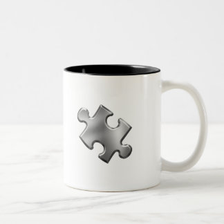 Autism Puzzle Piece Silver Two-Tone Coffee Mug