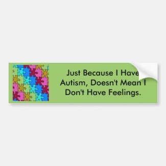 autism puzzle pieces 3 bumper sticker